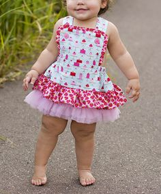 Loving this Blue & Red Cupcake Skirted Apron Bodysuit - Infant on #zulily! #zulilyfinds