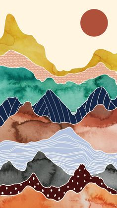 Free Art - Colorful mountain range under a bright sun - Mixkit