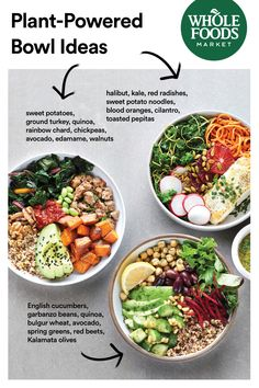 Need inspiration for easy weeknight-friendly bowls? Boost your routine with easy recipes featuring whole grains, vegetables, nuts, seeds and more. keto food list for beginners Whole Food Recipes, Easy Recipes, Cooking Recipes, Healthy Recipes, Food Bowl, Healthy Snacks, Healthy Eating, Clean Eating, Sweet Potato Noodles
