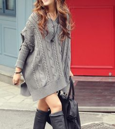 Women's Batwing Cable Knit Sweater