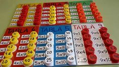 Super DIY idea to learn the multiplication tables - - Math Games, Learning Activities, Activities For Kids, Learning Tools, Kids Learning, Material Didático, Math Multiplication, Primary Maths, 3rd Grade Math