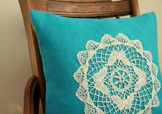 """turquoise burlap pillow cover / vintage doilie / 16"""" x 16""""  / cottage chic / vintage inspired / accent pillow / rustic / fall home decor on Etsy, $45.00"""