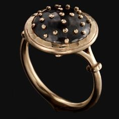 Philip Crangi - SMALL GRANADA BALL RING. Solid 14k yellow gold ring shank and bezel with hand forged hammer set oxidized steel dome with hand tooled 14k yellow gold rivets in cross hatch pattern.