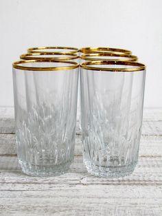 Vintage Pasabahce Gold Rimmed Highball Glasses  Set by iasVintage