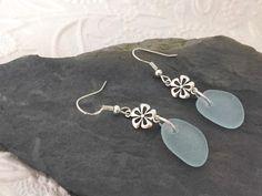 Flower Sea Glass Earrings Aqua Blue Dangle Beach Seaglass Sterling Sea Glass Necklace, Glass Earrings, Sea Glass Jewelry, Stud Earrings, Blue Beach, Sterling Silver Flowers, Aqua Blue, Dangles, Studs