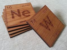 Periodic Table Individual Element Laser Cut/Engraved Wood Coaster Set - Custom Elements and Quantity on Etsy, $6.85 CAD