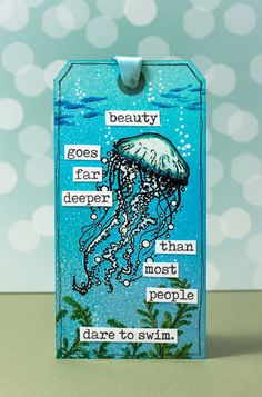 Visible Image stamp, and Distress Inks. Step by step photo instructions included! Jellyfish Quotes, Jellyfish Facts, Jellyfish Tank, Jellyfish Drawing, Jellyfish Painting, Jellyfish Tattoo, Jellyfish Aquarium, Watercolor Jellyfish, Watercolor Lion