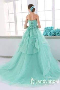 カラードレス プリンセス 取り外し式リボン ビスチェ ミントグリーン チュール JUL015005 価格 ¥63,720