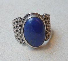 Vintage Moroccan sterling silver lapiz lazuli stone ring