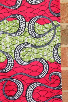 "Pink & Green Octopus Print BATIK Ankara, African wax print fabric / Bright, Neon, Summer / 1 yard x 46"" /Tribal African Fashion Supplies"