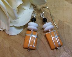 Sterling silver retro style earrings, vintage glass beads, yellow/orange with silver markings by CHAjewelry