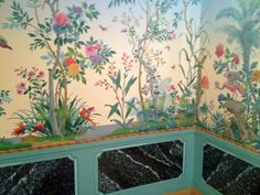 Zuber wallpaper from the 1920's in a David Adler house.