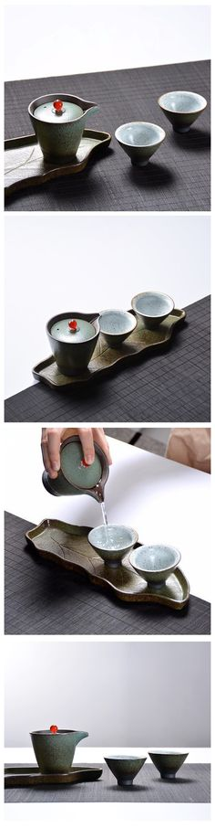 Glazed Japanese-style pottery tea set. A perfect gift for the tea lover!
