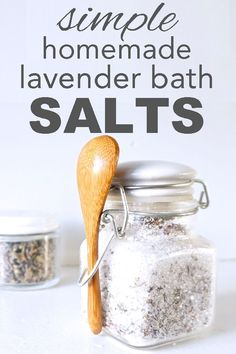 Learn how to make simple, zero waste, homemade lavender bath salts from www.goingzerowaste.com