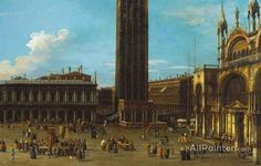 Giovanni Antonio Canal (called Canaletto),Venice:  The Piazza From The Piazzetta With The Campanile And Side Of S. Marco oil painting reproductions for sale