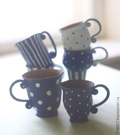 "Купить набор кружек ""утро в Провансе"" для Натальи - тёмно-синий, кружки, чай, глина"