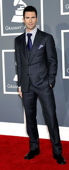 Adam Levine at the 2012 Grammy Awards.  In a three piece Tom Ford suit, tie, shirt and pocket square         Read more: http://www.usmagazine.com/red-carpet/adam-levine-at-the-2012-grammy-awards-2012122#ixzz2A0Pmo0sq