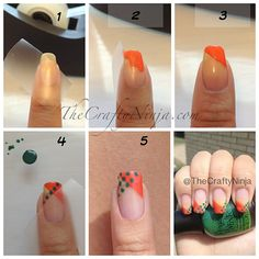 1. To create this nail design use scotch tape and tape off a diagonal. 2. Paint the tip, I used Revlon Siren. 3. Carefully pull off the tape. 4. Once the nail polish is completely dry, I tape the other direction using a diagonal, this is going to be my guild to create a straight row of dots. I use my nail dotting tool to create the dots with Finger Paints Go Van Gogh! 5. Continue adding the rows of dots.