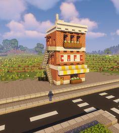 Down Town Cafe : Minecraft Villa Minecraft, Minecraft Modern City, Minecraft City Buildings, Minecraft House Plans, Minecraft Mansion, Minecraft Structures, Minecraft Cottage, Easy Minecraft Houses, Minecraft House Tutorials