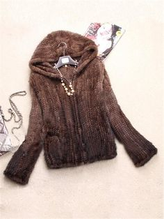 100% Real Knitted Farm Mink Fur Jacket Coat Outwear Hoody Wearcoat Zip Womens #NEW #BasicCoat