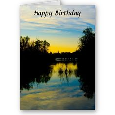Sunset over a Lake Birthday Card $3.35