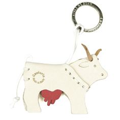 Miniature Leather Keychains: MUCCA - Cow Italian Leather Key Chain