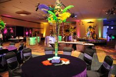 Mardi Gras centerpieces - feathers, masks