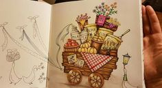 """De romantic country aux polychromos et prismacolors +posca blanc - Eriy """"Romantic Country""""  #eriy #romanticcountry #adultcoloring"""
