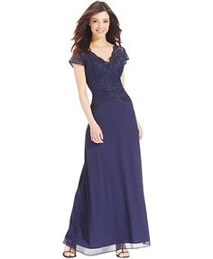 Onyx Sequined-Lace Contrast Gown - Dresses - Women - Macy's