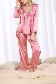 ca6d242e6e  Satin  Pajamas  Luxurious  ThreePieceSet  Women  PajamaswithBeltandTankTop