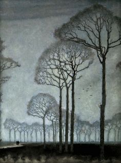 Artist: Jan Mankes (Dutch, 1889-1920). Title: Row of Trees . Year:1915. Description: etching.