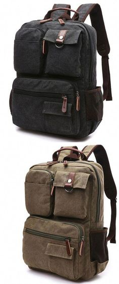 Vintage Brown Large Capacity School Canvas Laptop Backpack Multi-pocketed Outdoor Travel Backpack for big sale! Lace Backpack, Striped Backpack, Rucksack Backpack, Laptop Backpack, Travel Backpack, Leather Backpack, Fashion Backpack, Laptop Bags, Diy Backpack