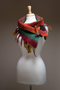 Sale, Felted Scarf, Corriedale wool, Silk fibres, Multi colour, Dark red green yellow orange olive brown, Fringes, Leaves