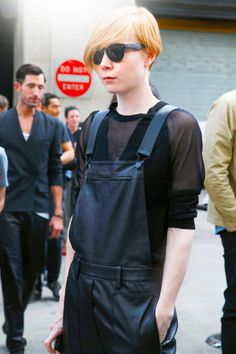 Outfit: 3.1 Phillip Lim  Similar items:  Leather overalls: Free People Vegan Leather Overalls, $128; freepeople.com