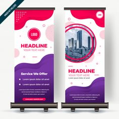 Roll up banner with colorfull gradient Premium Vector Banner Rollup, Rollup Banner Design, Bunting Design, Pop Up Banner, Xbanner Design, Roll Up Design, Flyer Design, Standing Banner Design, Standee Design