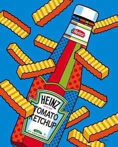 Flying fries!  Good pop art kitchen print!