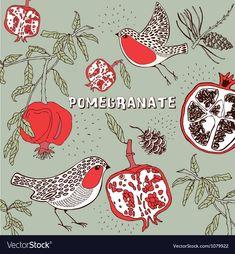Retro Pomegranate Pattern vector image on VectorStock Pomegranate Art, Bird Art, Adobe Illustrator, Embroidery Patterns, Graphic Art, Vector Free, Royalty Free Stock Photos, Retro, Drawings
