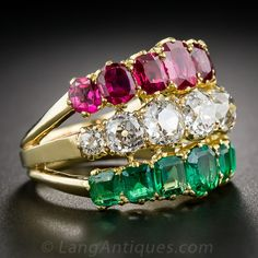 Antique Diamond, Ruby and Emerald 3-in-1 Ring - Antique & Vintage Gemstone Rings - Vintage Jewelry