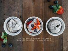 SALTED BLACK SESAME ICE CREAM WITH WHITE CHOCOLATE GANACHE