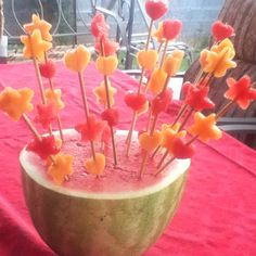 Made fruit kabobs with my mom! Watermelon and cantaloupe, shaped as stars and hearts. SO PRETTY:)-Kimberly E. :)