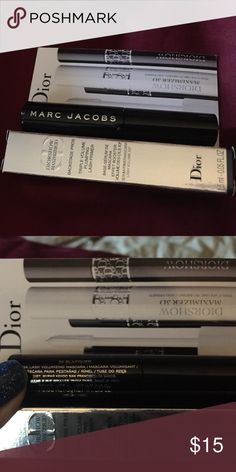 Luxury Deluxe Sample Size Mascara and Primer Diorshow Maximizer 3D Triple Volume Plumping Lash Primer 1.5mL Deluxe Sample. Marc Jacobs O!mega Mascara Deluxe Sample 30 Blacquer 3grams. Never opened. Price is firm. Bundle for further discounts. NO OFFERS, NO TRADES. I video outgoing orders for our protection. Marc Jacobs Makeup Mascara