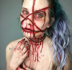 """last creature effects. the """"binding"""" salts etc shapes on the table etched into the face 'BOUND' special effects makeup by Creepy Makeup, Horror Makeup, Elf Makeup, Costume Makeup, Makeup Art, Makeup Ideas, Halloween Inspo, Halloween Kostüm, Halloween Cosplay"""