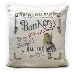 Alice in Wonderland Cushion Cover Bonkers Hearts Mad Hatter Tea Party Prop 40 Cm for sale online Sofa Throw Pillows, Throw Pillow Cases, Pillow Covers, Cushions, Cushion Pillow, Mad Hatter Quotes, Alice In Wonderland Artwork, Orange Cushion Covers, Have I Gone Mad