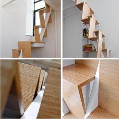 alternating tread stairs + bookshelves :)
