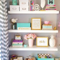Craft Room Pretty Office Spaces Ideas For 2019 Home Office Space, Home Office Decor, Home Decor, Office Spaces, Office Shelf, New Room, Room Organization, Girl Room, Room Inspiration