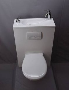 Génial les WC qui économisent place et eau - Berthe Nic. Bathroom Sink Storage, Wc Bathroom, Bathroom Design Small, Wc Design, Shop Interior Design, Closet Behind Bed, Small Toilet Room, Toilet Sink, Downstairs Toilet