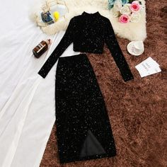 Women two piece set dress (pre-booking) colour black .Women two piece set dress (pre-booking) colour black size small to price re . D/M to place whatsapp link in bio Girls Fashion Clothes, Teen Fashion Outfits, Cute Fashion, Stylish Outfits, Fashion Dresses, Clothes Women, Fashion Beauty, Glamorous Evening Dresses, Elegant Dresses