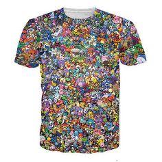 Hot Sale!New Fashion Women/Mens Cartoon Pokemon Collage Funny 3D Print T-Shirt | eBay
