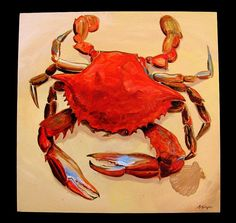 Large Cooked Blue Crab Original Acrylic painting by Barry Singer Crab Art, Fish Art, Still Life Pictures, Louisiana Art, Dog Paintings, Acrylic Paintings, Beach Art, Cool Artwork, Painting Inspiration