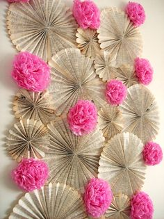 perfect decorations for a dessert bar back drop. Fan flowers & pom flowers!